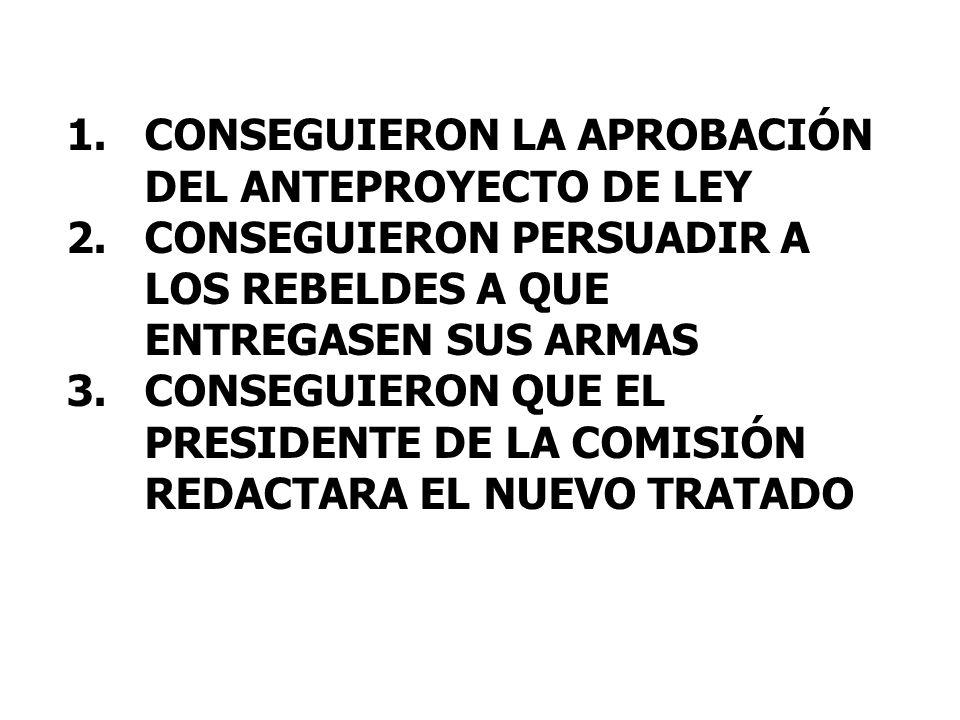 1.CONSEGUIERON LA APROBACIÓN DEL ANTEPROYECTO DE LEY 2.CONSEGUIERON PERSUADIR A LOS REBELDES A QUE ENTREGASEN SUS ARMAS 3.CONSEGUIERON QUE EL PRESIDENTE DE LA COMISIÓN REDACTARA EL NUEVO TRATADO