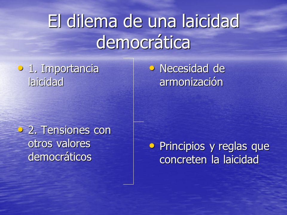 El dilema de una laicidad democrática 1. Importancia laicidad 1. Importancia laicidad 2. Tensiones con otros valores democráticos 2. Tensiones con otr