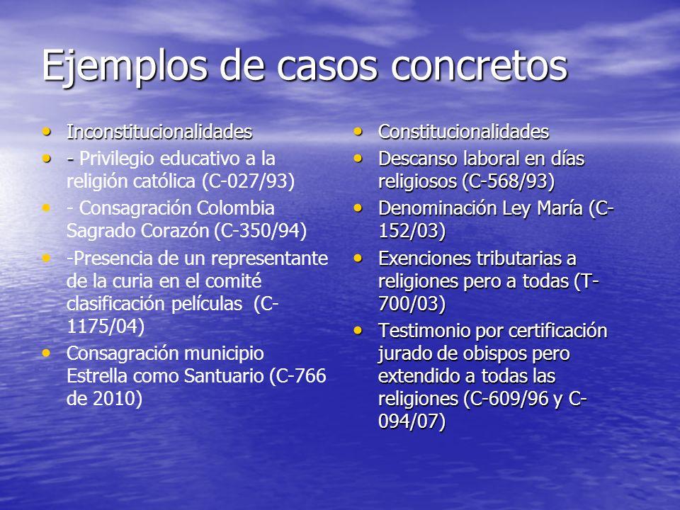 Ejemplos de casos concretos Inconstitucionalidades Inconstitucionalidades - - Privilegio educativo a la religión católica (C-027/93) - Consagración Co