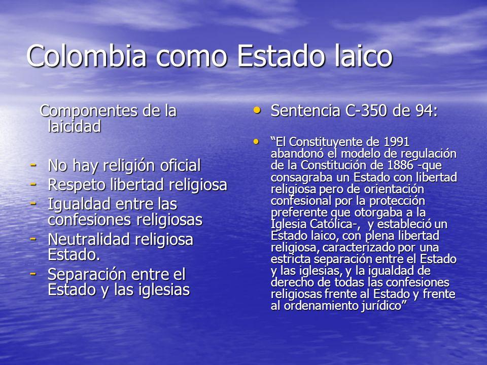 Colombia como Estado laico Componentes de la laicidad Componentes de la laicidad - No hay religión oficial - Respeto libertad religiosa - Igualdad ent