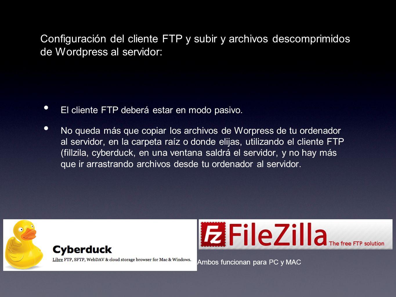 Configuración del cliente FTP y subir y archivos descomprimidos de Wordpress al servidor: El cliente FTP deberá estar en modo pasivo. No queda más que