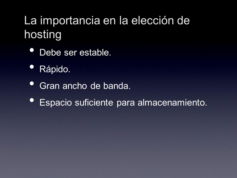 La importancia en la elección de hosting Debe ser estable. Rápido. Gran ancho de banda. Espacio suficiente para almacenamiento.