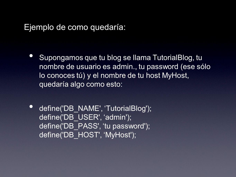 Ejemplo de como quedaría: Supongamos que tu blog se llama TutorialBlog, tu nombre de usuario es admin., tu password (ese sólo lo conoces tú) y el nomb