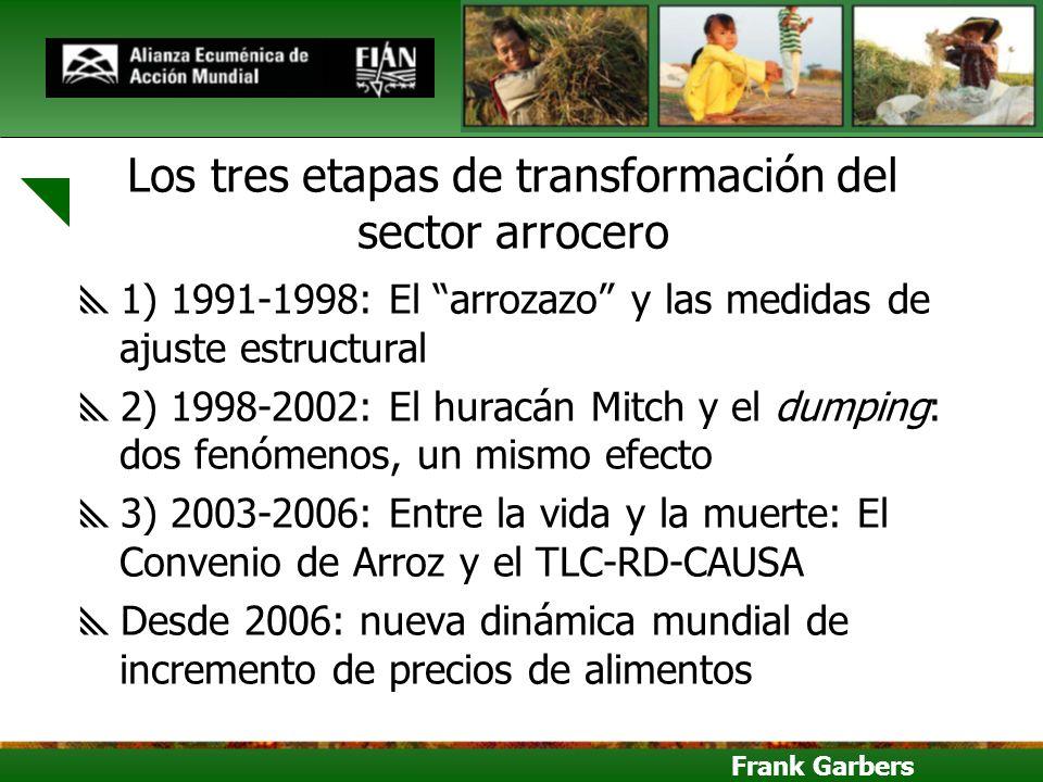 Frank Garbers Los tres etapas de transformación del sector arrocero 1) 1991-1998: El arrozazo y las medidas de ajuste estructural 2) 1998-2002: El hur