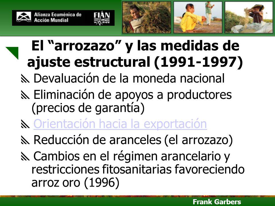 Frank Garbers El arrozazo y las medidas de ajuste estructural (1991-1997) Devaluación de la moneda nacional Eliminación de apoyos a productores (preci