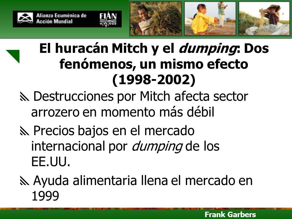 Frank Garbers El huracán Mitch y el dumping: Dos fenómenos, un mismo efecto (1998-2002) Destrucciones por Mitch afecta sector arrozero en momento más