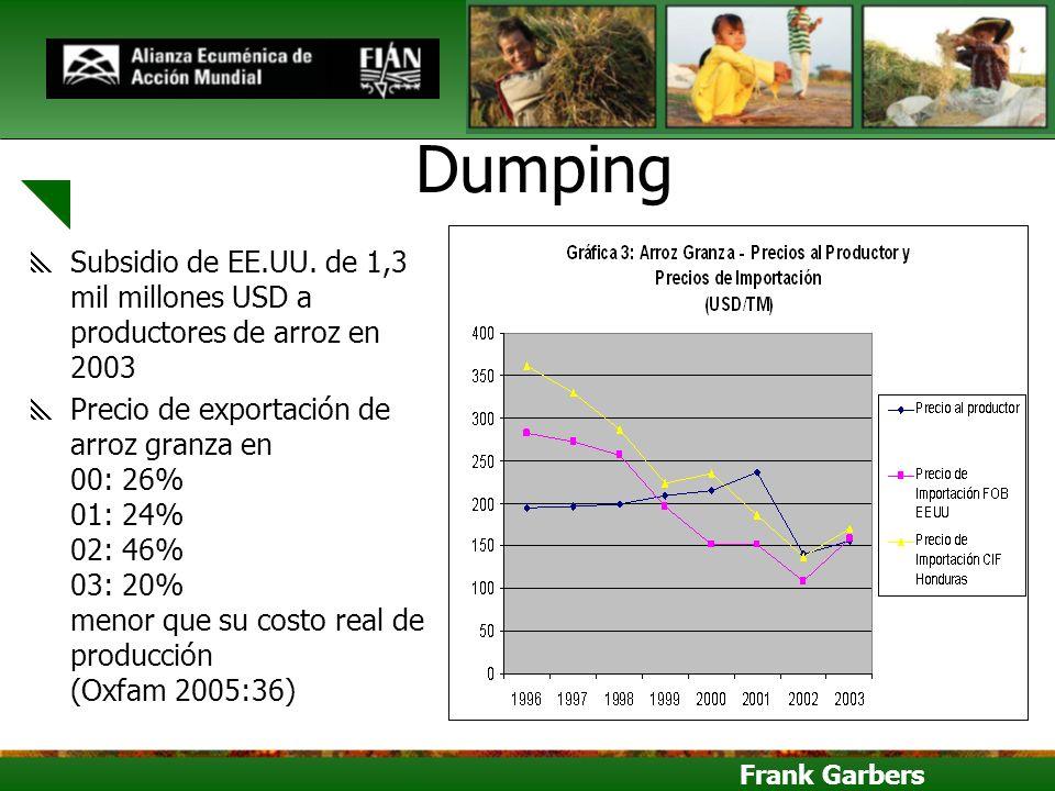 Frank Garbers Dumping Subsidio de EE.UU. de 1,3 mil millones USD a productores de arroz en 2003 Precio de exportación de arroz granza en 00: 26% 01: 2