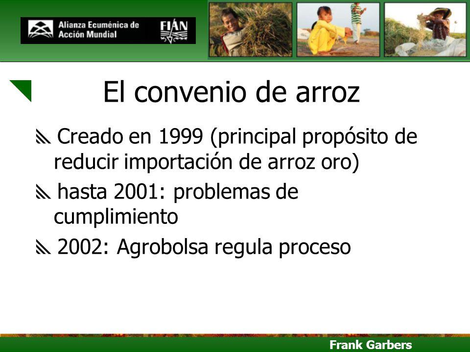 Frank Garbers El convenio de arroz Creado en 1999 (principal propósito de reducir importación de arroz oro) hasta 2001: problemas de cumplimiento 2002
