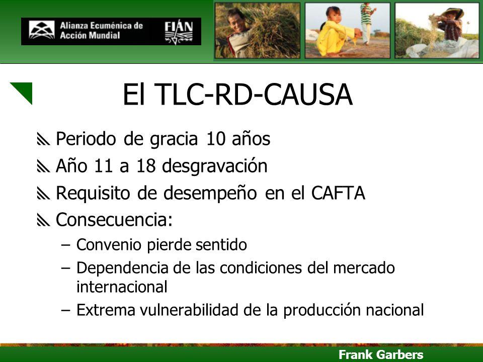 Frank Garbers El TLC-RD-CAUSA Periodo de gracia 10 años Año 11 a 18 desgravación Requisito de desempeño en el CAFTA Consecuencia: –Convenio pierde sen