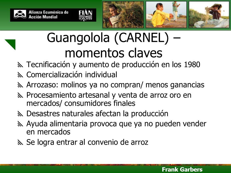 Frank Garbers Guangolola (CARNEL) – momentos claves Tecnificación y aumento de producción en los 1980 Comercialización individual Arrozaso: molinos ya