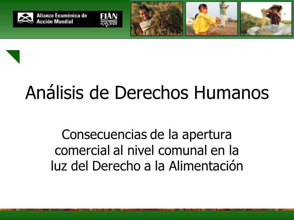 Análisis de Derechos Humanos Consecuencias de la apertura comercial al nivel comunal en la luz del Derecho a la Alimentación