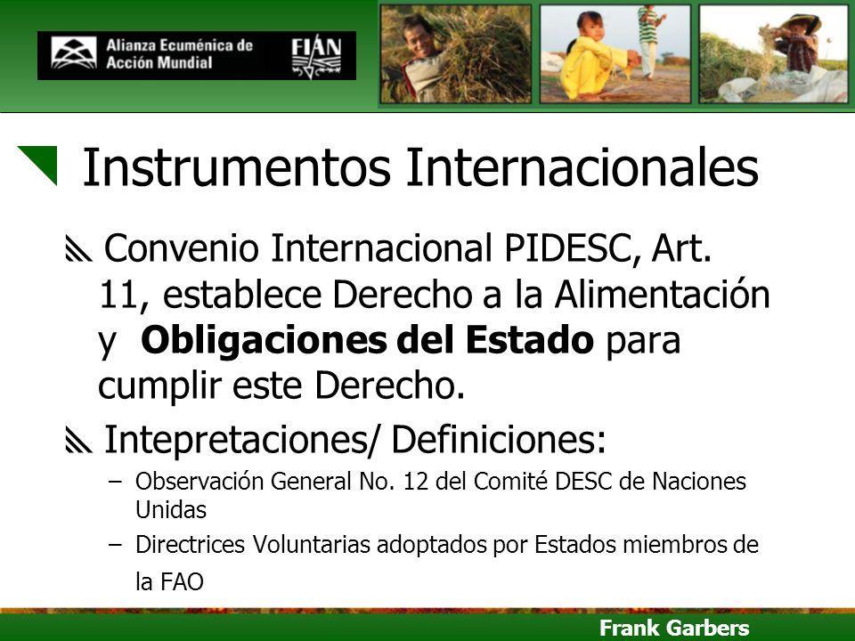Frank Garbers Instrumentos Internacionales Convenio Internacional PIDESC, Art. 11, establece Derecho a la Alimentación y Obligaciones del Estado para