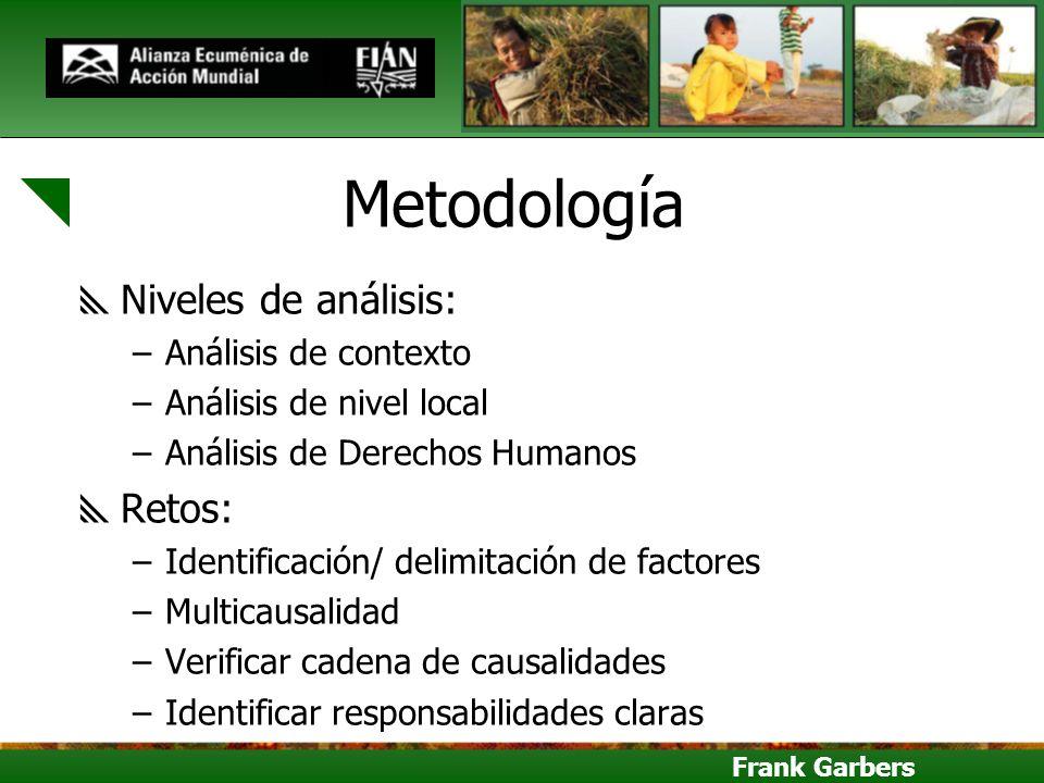 Frank Garbers Metodología Niveles de análisis: –Análisis de contexto –Análisis de nivel local –Análisis de Derechos Humanos Retos: –Identificación/ de