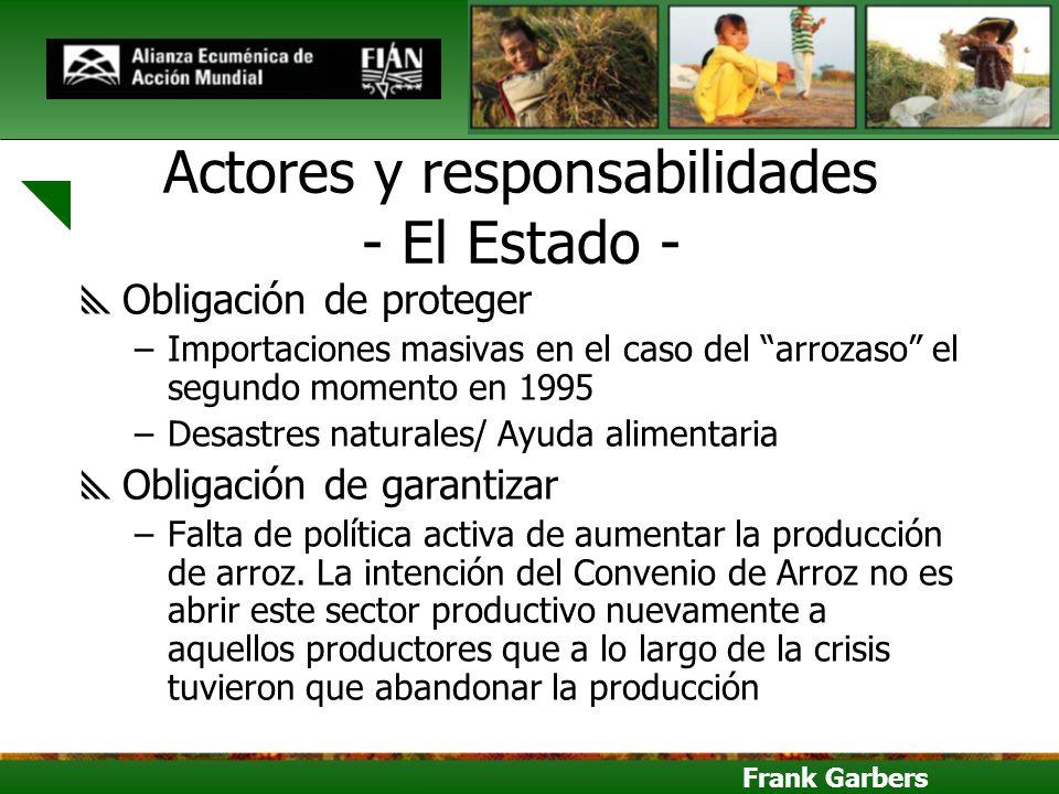 Frank Garbers Actores y responsabilidades - El Estado - Obligación de proteger –Importaciones masivas en el caso del arrozaso el segundo momento en 19