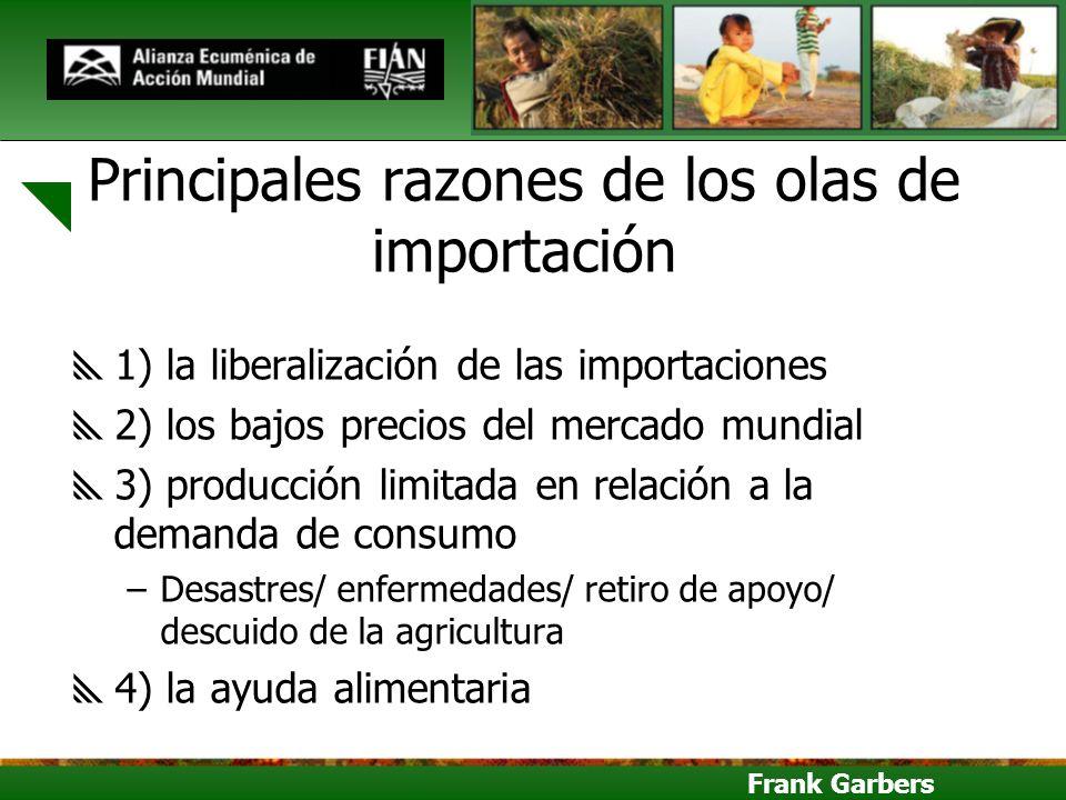 Frank Garbers Principales razones de los olas de importación 1) la liberalización de las importaciones 2) los bajos precios del mercado mundial 3) pro