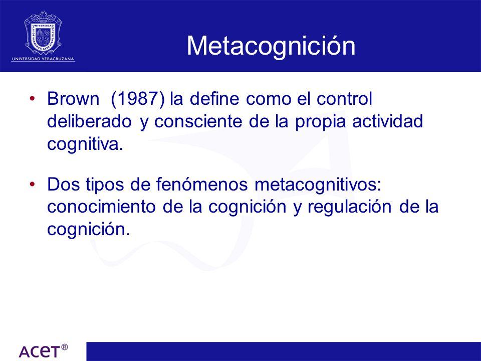 Metacognición Brown (1987) la define como el control deliberado y consciente de la propia actividad cognitiva. Dos tipos de fenómenos metacognitivos: