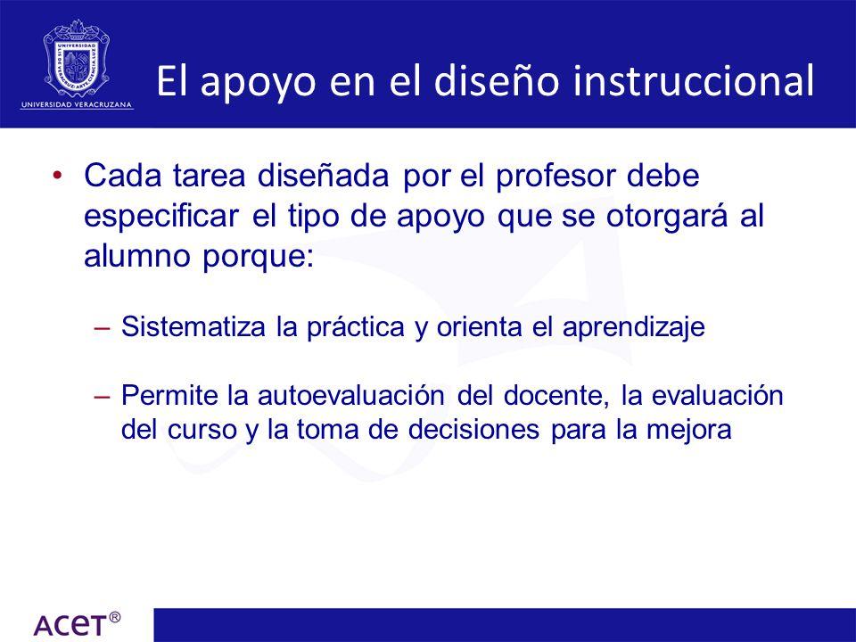 El apoyo en el diseño instruccional Cada tarea diseñada por el profesor debe especificar el tipo de apoyo que se otorgará al alumno porque: –Sistemati