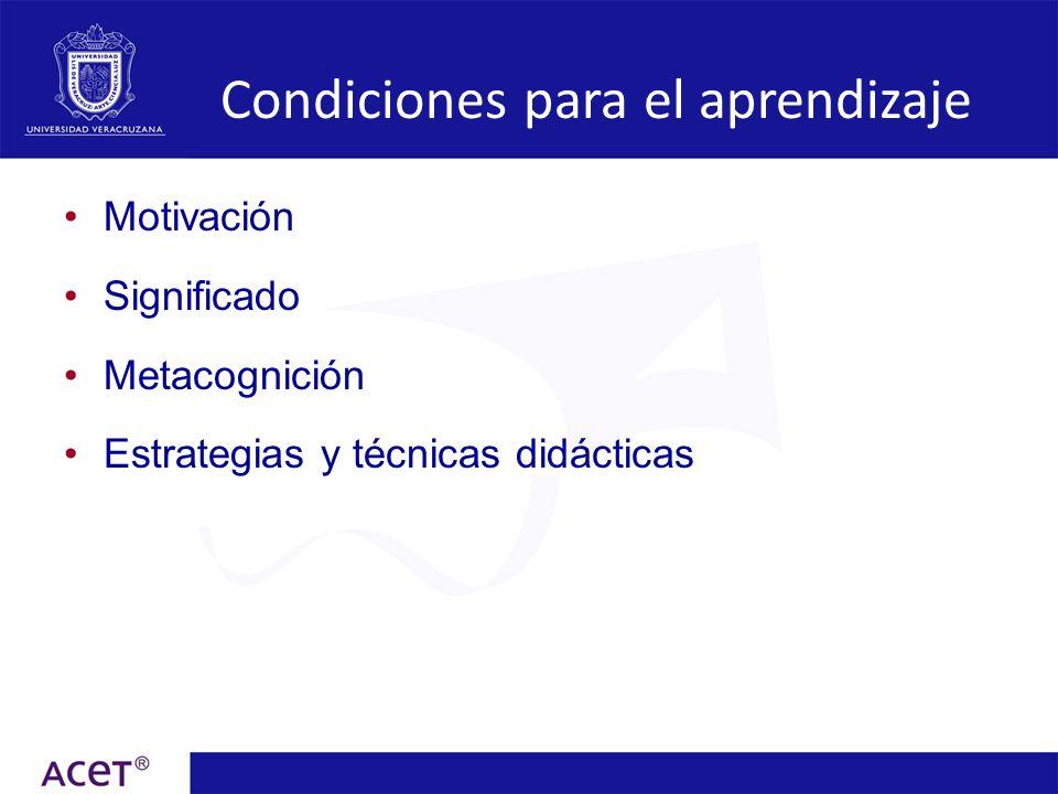 Motivación Engloba factores cognitivos y afectivos que van a determinar la elección, iniciación, dirección, magnitud y calidad de una acción que persigue alcanzar un fin determinado (Huertas, 1997).
