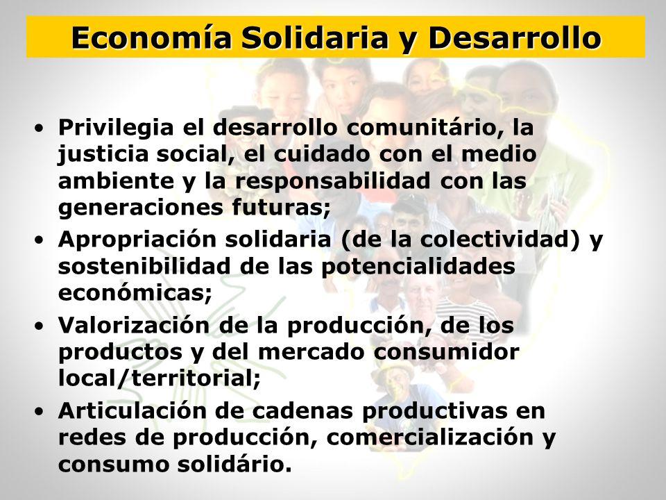 Economía Solidaria y Desarrollo Privilegia el desarrollo comunitário, la justicia social, el cuidado con el medio ambiente y la responsabilidad con la