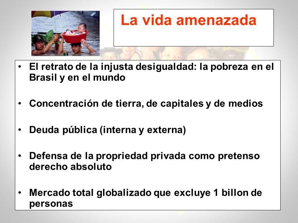 La vida amenazada El retrato de la injusta desigualdad: la pobreza en el Brasil y en el mundo Concentración de tierra, de capitales y de medios Deuda