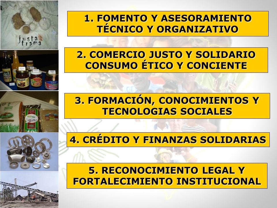 1. FOMENTO Y ASESORAMIENTO TÉCNICO Y ORGANIZATIVO 2. COMERCIO JUSTO Y SOLIDARIO CONSUMO ÉTICO Y CONCIENTE 3. FORMACIÓN, CONOCIMIENTOS Y TECNOLOGIAS SO