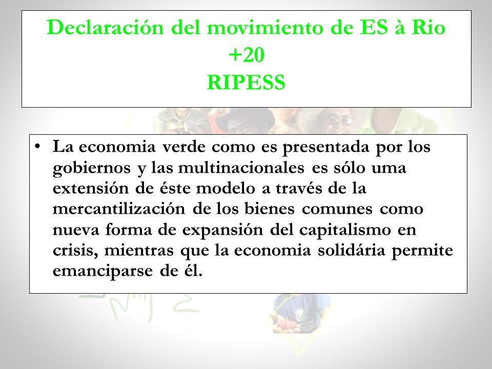La economia verde como es presentada por los gobiernos y las multinacionales es sólo uma extensión de éste modelo a través de la mercantilización de l