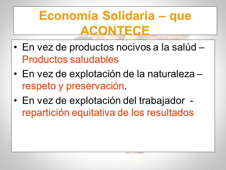 Economía Solidaria – que ACONTECE En vez de productos nocivos a la salúd – Productos saludables En vez de explotación de la naturaleza – respeto y pre