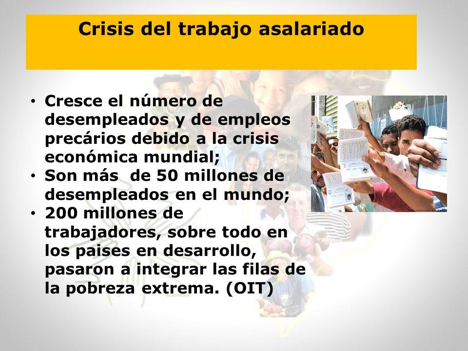 Crisis del trabajo asalariado Cresce el número de desempleados y de empleos precários debido a la crisis económica mundial; Son más de 50 millones de