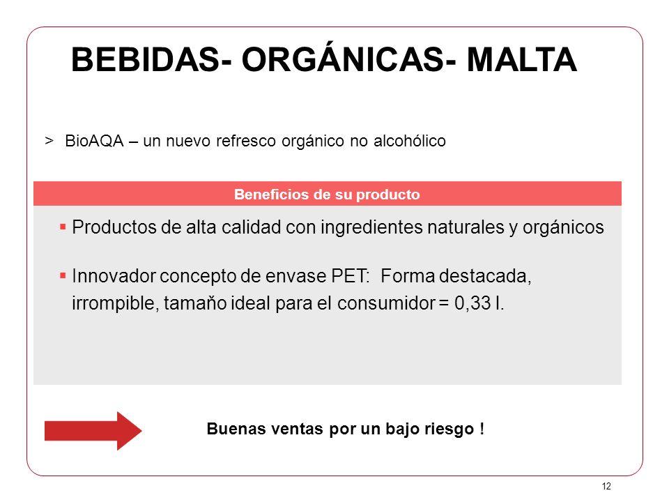 12 Buenas ventas por un bajo riesgo ! >BioAQA – un nuevo refresco orgánico no alcohólico Productos de alta calidad con ingredientes naturales y orgáni