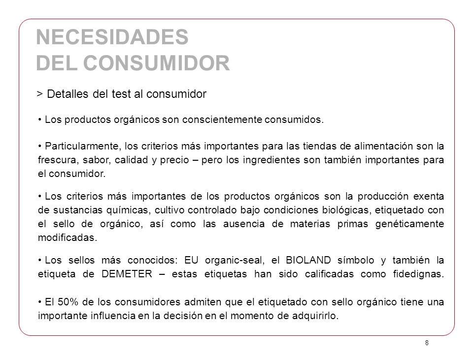 8 Los productos orgánicos son conscientemente consumidos. Particularmente, los criterios más importantes para las tiendas de alimentación son la fresc
