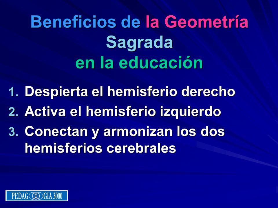 Beneficios de la Geometría Sagrada en la educación 1. D espierta el hemisferio derecho 2. A ctiva el hemisferio izquierdo 3. C onectan y armonizan los
