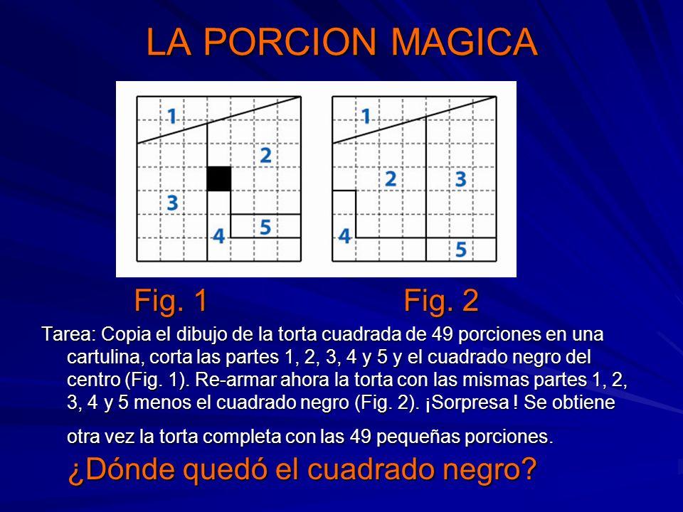 LA PORCION MAGICA Fig. 1 Fig. 2 Fig. 1 Fig. 2 Tarea: Copia el dibujo de la torta cuadrada de 49 porciones en una cartulina, corta las partes 1, 2, 3,