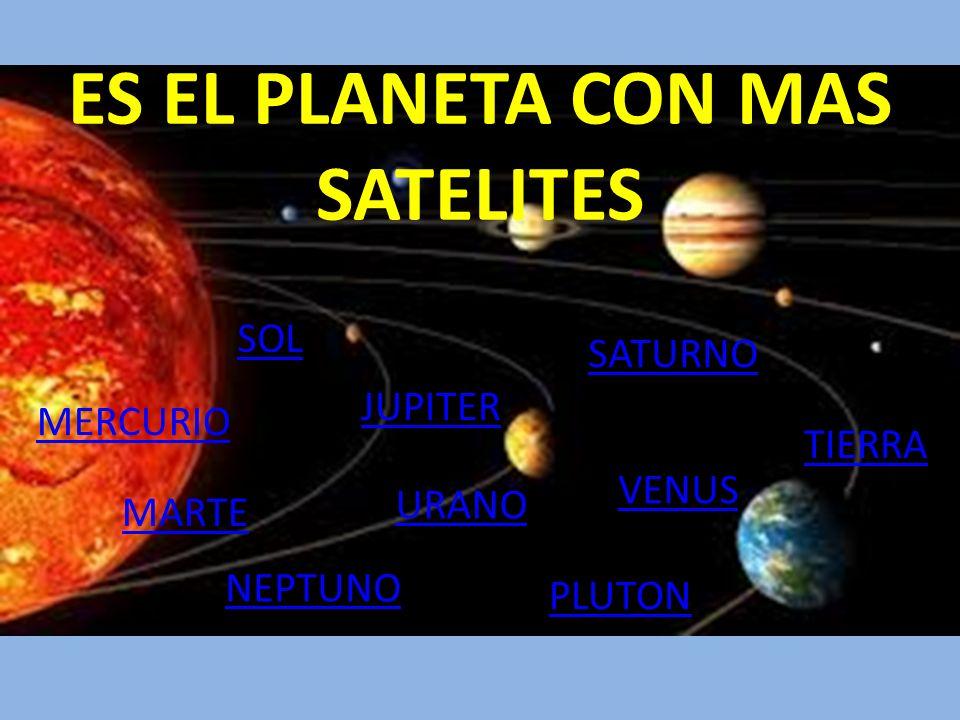 ES EL PLANETA CON MAS SATELITES MERCURIO MARTE URANO SATURNO JUPITER VENUS NEPTUNO TIERRA PLUTON SOL