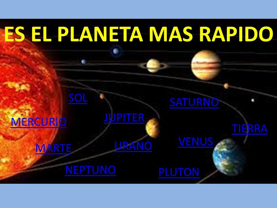 ES EL PLANETA MAS RAPIDO MERCURIO MARTE URANO SATURNO JUPITER VENUS NEPTUNO TIERRA PLUTON SOL