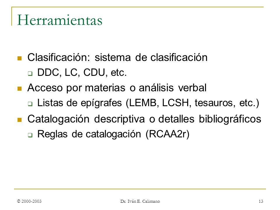 © 2000-2003 Dr. Iván E. Calimano 13 Herramientas Clasificación: sistema de clasificación DDC, LC, CDU, etc. Acceso por materias o análisis verbal List