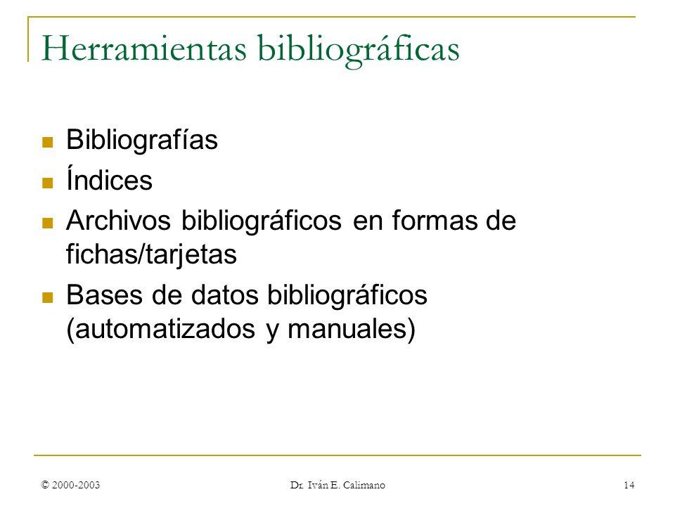 © 2000-2003 Dr. Iván E. Calimano 14 Herramientas bibliográficas Bibliografías Índices Archivos bibliográficos en formas de fichas/tarjetas Bases de da