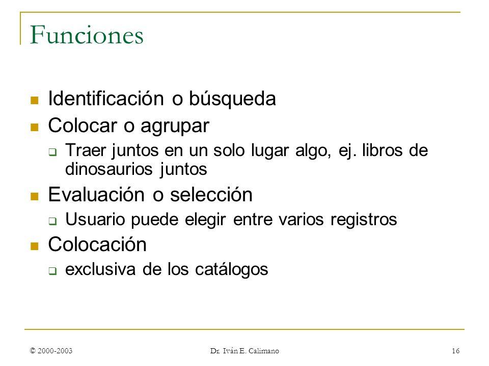 © 2000-2003 Dr. Iván E. Calimano 16 Funciones Identificación o búsqueda Colocar o agrupar Traer juntos en un solo lugar algo, ej. libros de dinosaurio