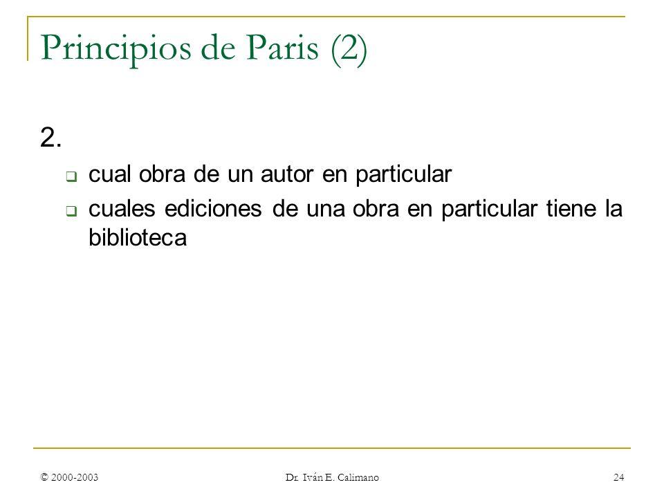 © 2000-2003 Dr. Iván E. Calimano 24 Principios de Paris (2) 2. cual obra de un autor en particular cuales ediciones de una obra en particular tiene la