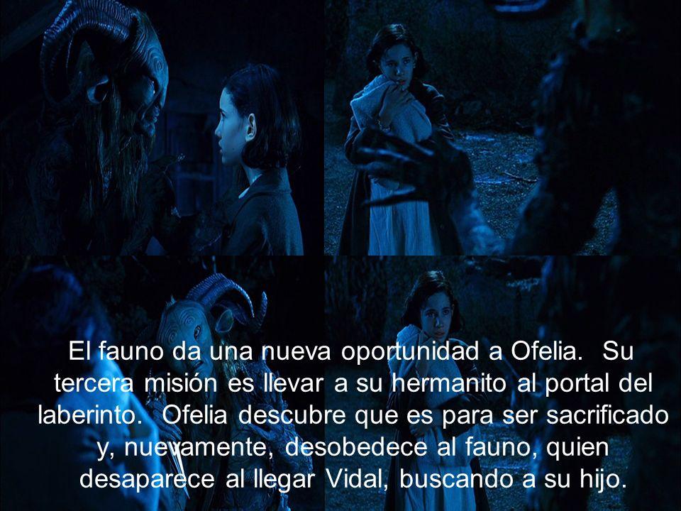 El fauno da una nueva oportunidad a Ofelia. Su tercera misión es llevar a su hermanito al portal del laberinto. Ofelia descubre que es para ser sacrif