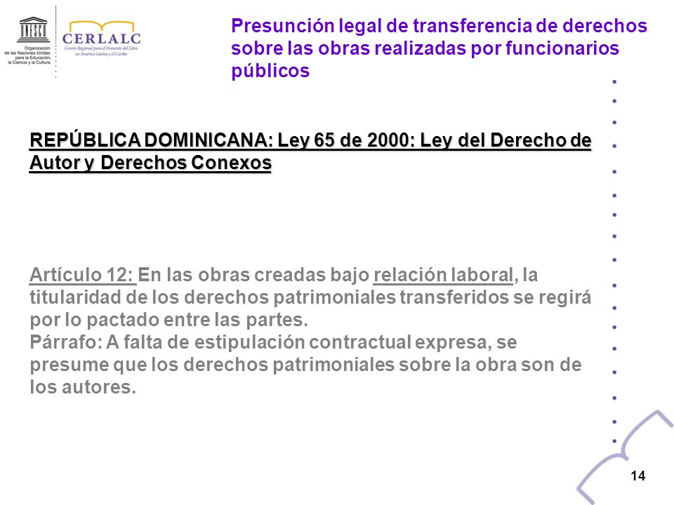 13 PANAMÁ: Ley 15 de 1994 :Ley de Derecho de Autor y Derechos conexos Artículo 6: En las obras creadas para una persona natural o jurídica, en cumplim