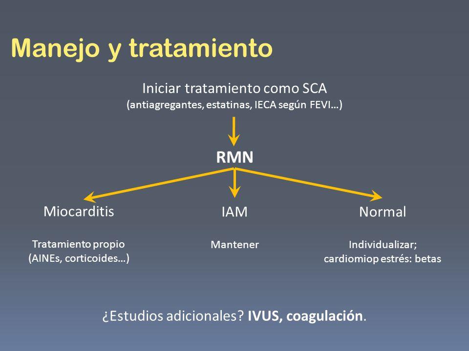 Manejo y tratamiento Iniciar tratamiento como SCA (antiagregantes, estatinas, IECA según FEVI…) RMN ¿Estudios adicionales? IVUS, coagulación. Miocardi