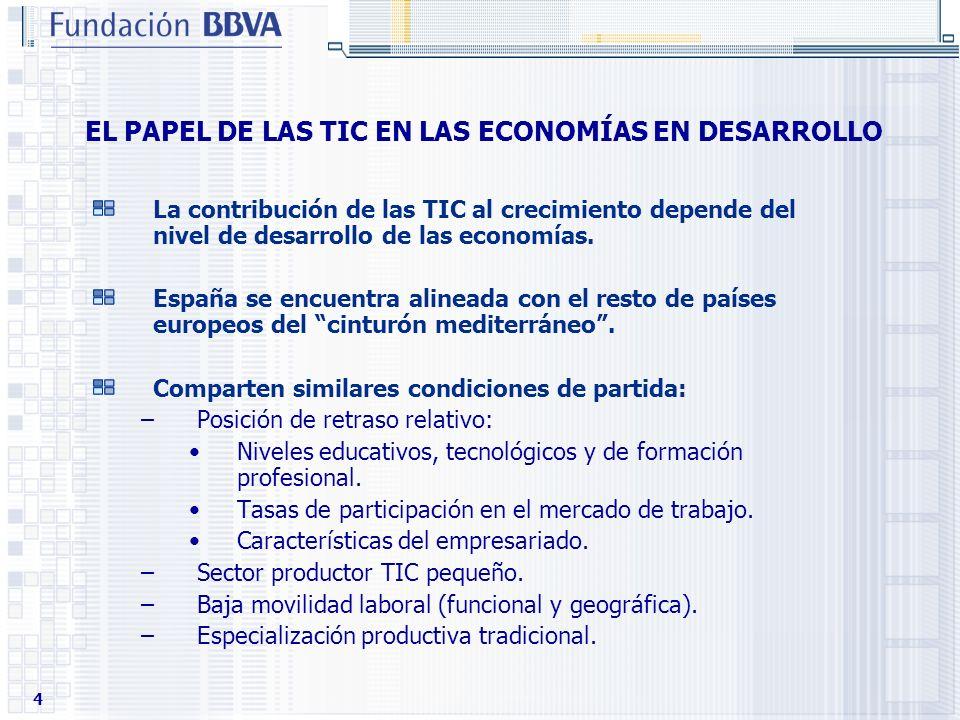 4 EL PAPEL DE LAS TIC EN LAS ECONOMÍAS EN DESARROLLO La contribución de las TIC al crecimiento depende del nivel de desarrollo de las economías. Españ