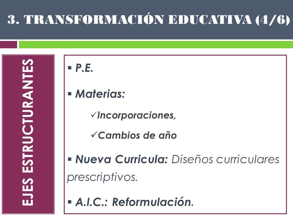 EJES ESTRUCTURANTES P.E. Materias: Incorporaciones, Cambios de año Nueva Curricula: Diseños curriculares prescriptivos. A.I.C.: Reformulación. 3. TRAN