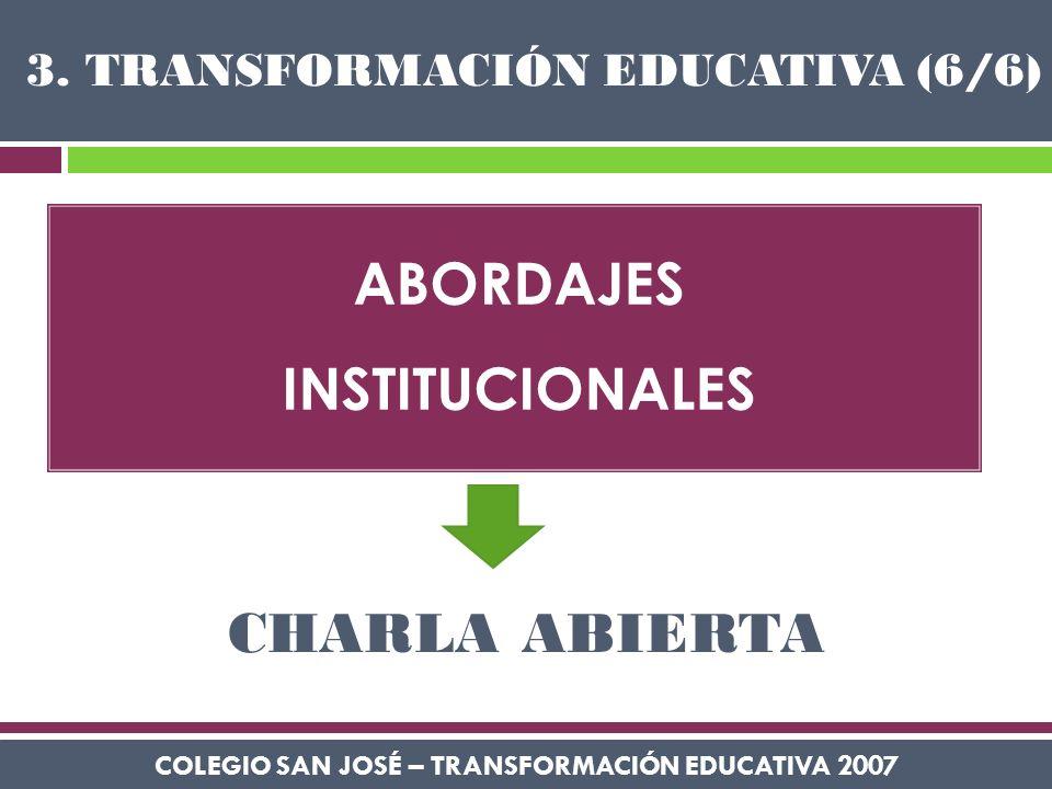ABORDAJES INSTITUCIONALES COLEGIO SAN JOSÉ – TRANSFORMACIÓN EDUCATIVA 2007 3. TRANSFORMACIÓN EDUCATIVA (6/6) CHARLA ABIERTA