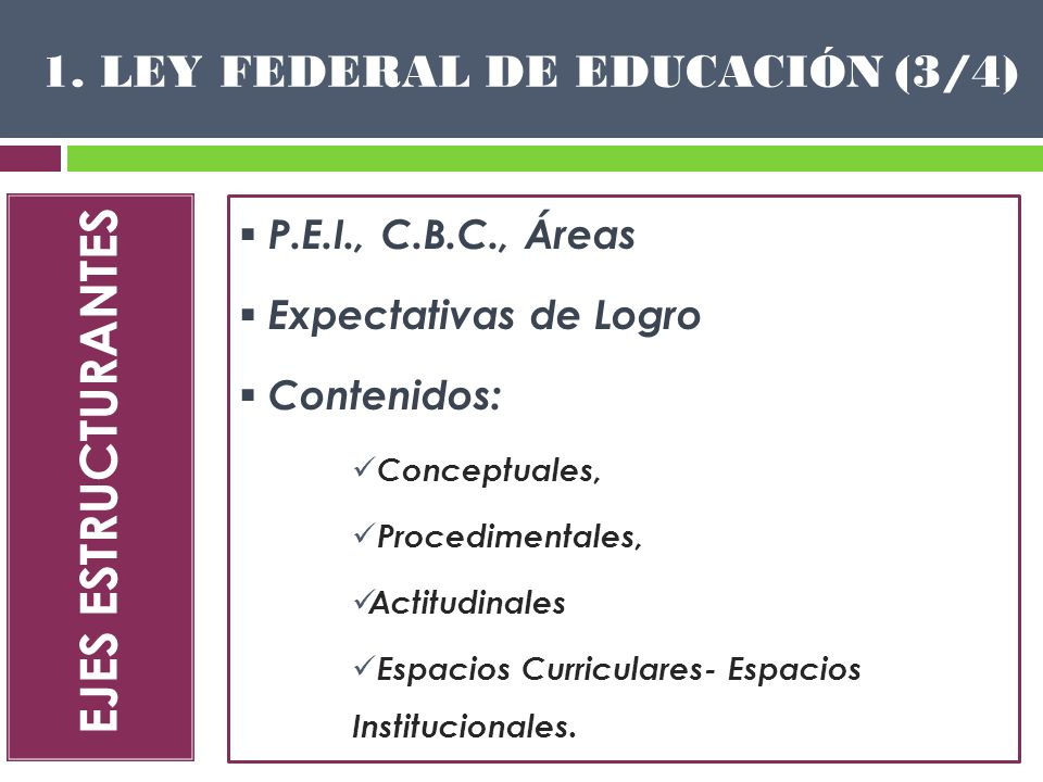 EJES ESTRUCTURANTES 1. LEY FEDERAL DE EDUCACIÓN (3/4) P.E.I., C.B.C., Áreas Expectativas de Logro Contenidos: Conceptuales, Procedimentales, Actitudin