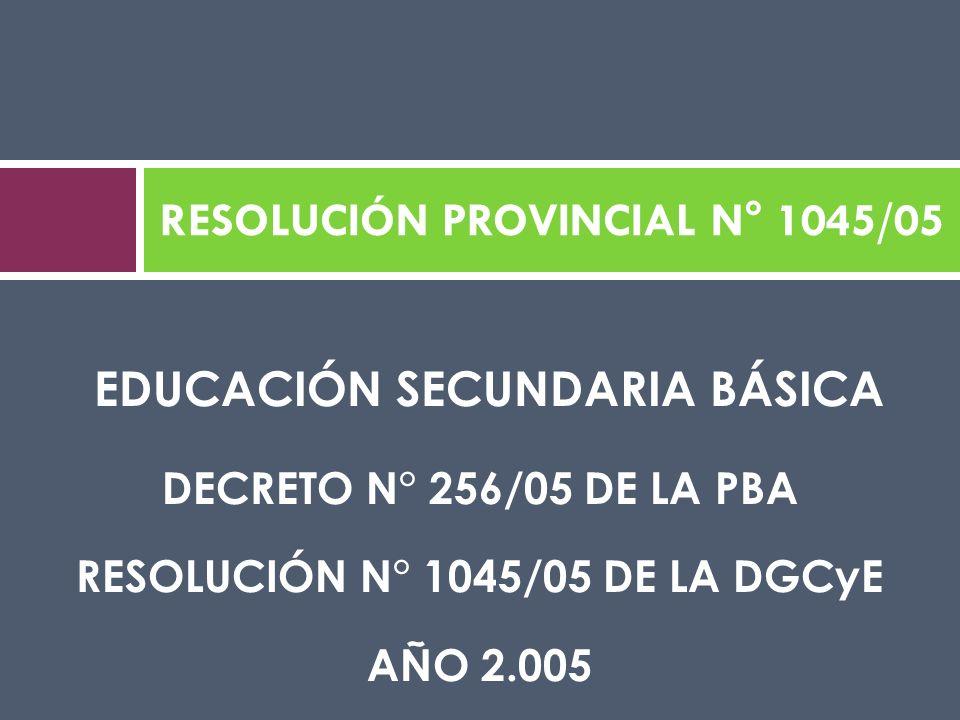 EDUCACIÓN SECUNDARIA BÁSICA DECRETO N° 256/05 DE LA PBA RESOLUCIÓN N° 1045/05 DE LA DGCyE AÑO 2.005 RESOLUCIÓN PROVINCIAL N° 1045/05