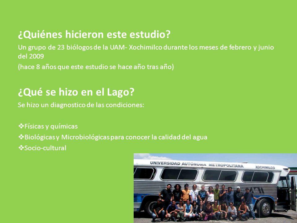 ¿Quiénes hicieron este estudio? Un grupo de 23 biólogos de la UAM- Xochimilco durante los meses de febrero y junio del 2009 (hace 8 años que este estu