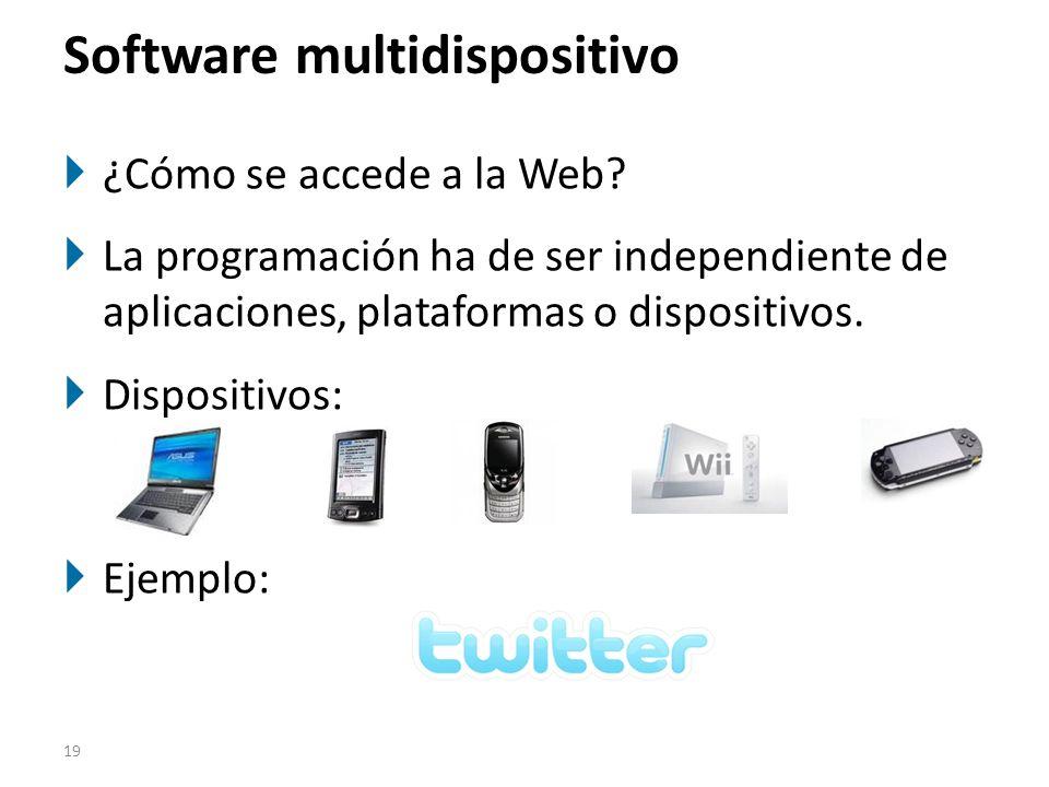 19 Software multidispositivo ¿Cómo se accede a la Web? La programación ha de ser independiente de aplicaciones, plataformas o dispositivos. Dispositiv