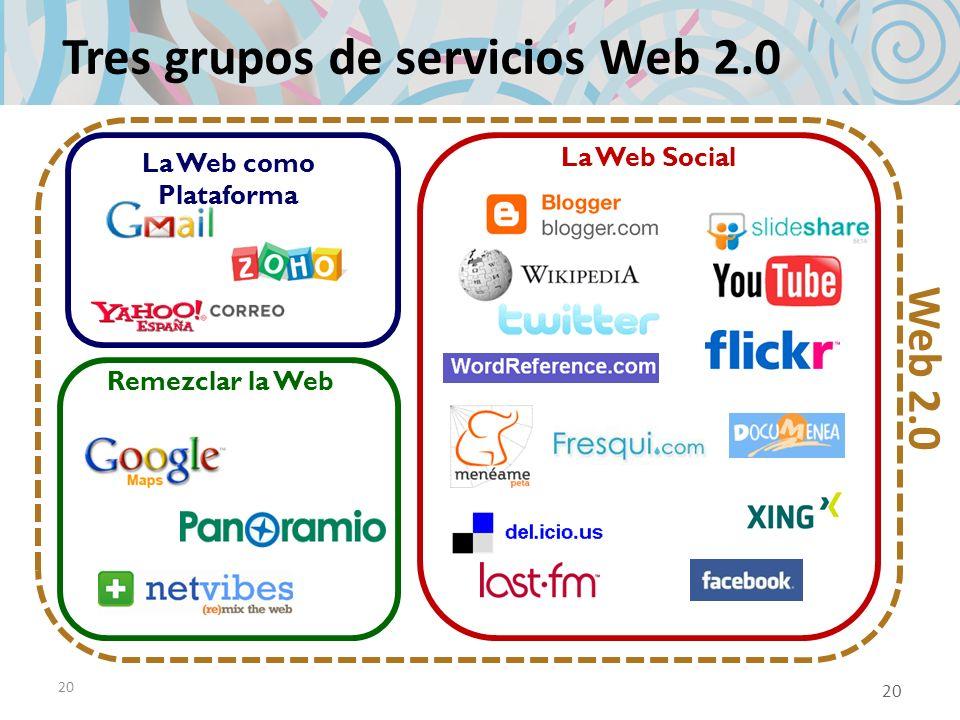 20 Tres grupos de servicios Web 2.0 La Web como Plataforma Remezclar la Web La Web Social Web 2.0 20