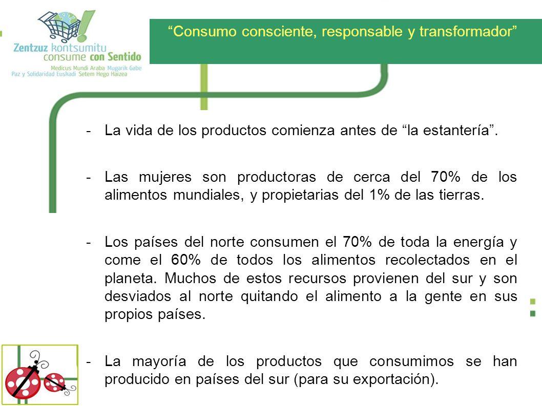 Consumo consciente, responsable y transformador -La vida de los productos comienza antes de la estantería. -Las mujeres son productoras de cerca del 7